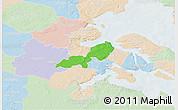 Political 3D Map of Lundtoft, lighten