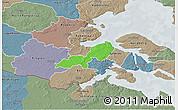 Political 3D Map of Lundtoft, semi-desaturated