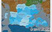 Political Shades Map of Sonderjylland, darken