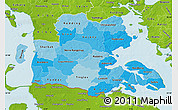 Political Shades Map of Sonderjylland, physical outside