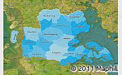 Political Shades Map of Sonderjylland, satellite outside