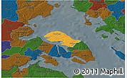 Political 3D Map of Nordborg, darken