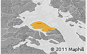 Political 3D Map of Nordborg, desaturated