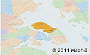 Political 3D Map of Nordborg, lighten