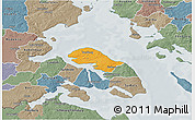 Political 3D Map of Nordborg, semi-desaturated