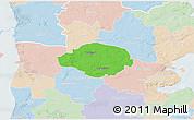 Political 3D Map of Norre Rangstrup, lighten