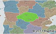 Political 3D Map of Norre Rangstrup, semi-desaturated