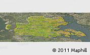 Satellite Panoramic Map of Sonderjylland, semi-desaturated