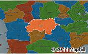 Political 3D Map of Rodding, darken