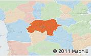 Political 3D Map of Rodding, lighten