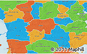 Political 3D Map of Rodding