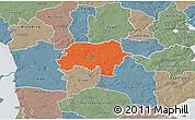 Political 3D Map of Rodding, semi-desaturated