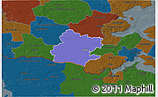 Political 3D Map of Tinglev, darken