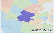 Political 3D Map of Tinglev, lighten