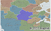 Political 3D Map of Tinglev, semi-desaturated