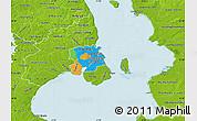 Political Map of Staden Kobenhavn, physical outside
