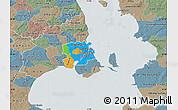 Political Map of Staden Kobenhavn, semi-desaturated