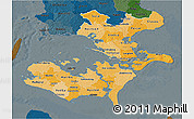 Political Shades 3D Map of Storstrom, darken