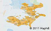 Political Shades 3D Map of Storstrom, lighten