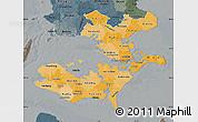 Political Shades Map of Storstrom, darken, semi-desaturated
