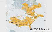 Political Shades Map of Storstrom, lighten, semi-desaturated