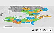 Political Panoramic Map of Storstrom, desaturated