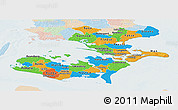 Political Panoramic Map of Storstrom, lighten