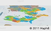 Political Panoramic Map of Storstrom, semi-desaturated
