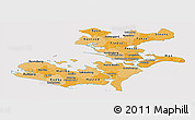 Political Shades Panoramic Map of Storstrom, cropped outside
