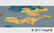 Political Shades Panoramic Map of Storstrom, darken