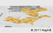 Political Shades Panoramic Map of Storstrom, desaturated