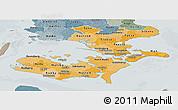 Political Shades Panoramic Map of Storstrom, semi-desaturated
