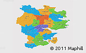 Political 3D Map of Vejle, cropped outside