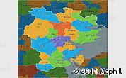 Political 3D Map of Vejle, darken