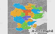 Political 3D Map of Vejle, desaturated