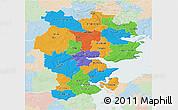 Political 3D Map of Vejle, lighten