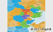 Political 3D Map of Vejle, political shades outside
