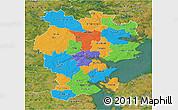Political 3D Map of Vejle, satellite outside