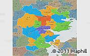Political 3D Map of Vejle, semi-desaturated