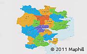 Political 3D Map of Vejle, single color outside