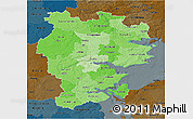 Political Shades 3D Map of Vejle, darken