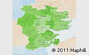Political Shades 3D Map of Vejle, lighten