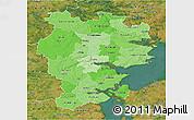 Political Shades 3D Map of Vejle, satellite outside