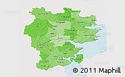 Political Shades 3D Map of Vejle, single color outside