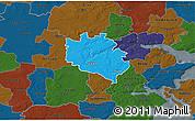 Political 3D Map of Egtved, darken