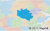 Political 3D Map of Egtved, lighten