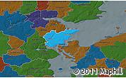 Political 3D Map of Fredericia, darken