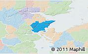 Political 3D Map of Fredericia, lighten