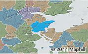 Political 3D Map of Fredericia, semi-desaturated