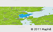 Political Panoramic Map of Fredericia, physical outside